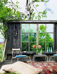 Une terrasse d'inspiration bohème hippie