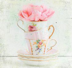 Three for TEA Photograph Vintage Teacups Pink by susannajarian