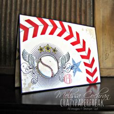 Stampin' Up! Baseball Birthday card created by Melissa @ crazypaperfreak.blogspot.com Great Sport (retired), Gorgeous Grunge, Chevron punch, Real Red, kids, boys, youth, handmade, greeting card