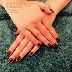 #Black #glitter #gel #polish on a #natural #nails #gelpolish #natural #nicenails #bluesky #manicure #instanails #shortnails