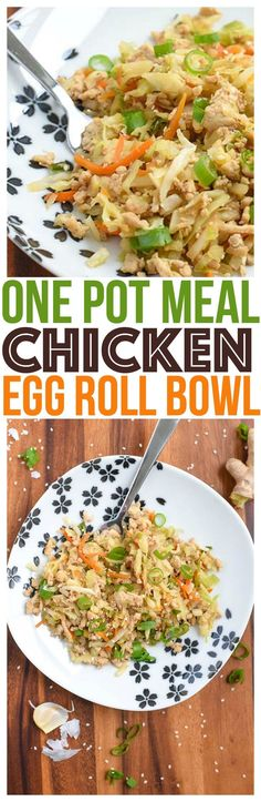 Healthy Chicken Egg Roll Bowl Recipe will be a new family favorite meal. Eat as is, or turn it into potstickers, dumplings, or even serve with lo mein! Tasty Lunch or Dinner Recipe video too! via @CourtneysSweets
