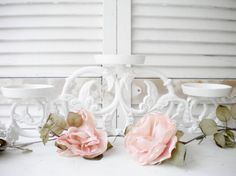 Beautiful Vintage Metal Candle Holder Shabby Chic by MyVingtique, $45.00
