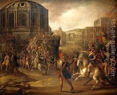 Battle Scene with a Roman Army Besieging a Large City by Juan De La Corte