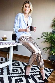 Metallic pants...YES please! Via FASHIONATA | Fashion and Lifestyle Antwerp based Blog