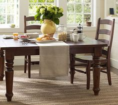 Sumner Square Fixed Dining Table #potterybarn like this style for our next kitchen table...