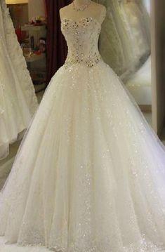 Ball Gown Long Sweetheart Beading Lace-Up Back Keyhole Tulle Lace Satin  Dress. Dorris Wedding 3833d1ec1e62