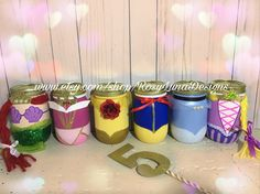 Princess mason jar party set of 6 princesses Cinderella Disney Princess Centerpieces, Princess Birthday Party Decorations, Disney Princess Birthday Party, Birthday Party Centerpieces, Cinderella Centerpiece, Cinderella Princess, Frog Princess, Princess Theme, Mason Jar Party