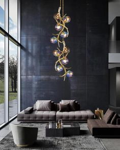 ERSA modern designer pendant lighting. The living room is a place for the family or to relax and enjoy a good book. The lighting won't be an issue because there will be enough light. For more inspiration visits our website to view the ERSA collection. Modern Hanging Lights, Hanging Ceiling Lights, Modern Chandelier, Modern Lighting, Lighting Ideas, Custom Lighting, Lighting Design, Home Modern, Living Room Modern
