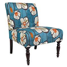 angelo:HOME Bradstreet Midnight Floral Chair in Teal/Orange