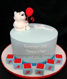 Teddy Bear Baptism/Christening Cake