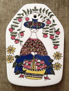 Vintage Figgjo Flint Hand painted Wall Plaque Norway