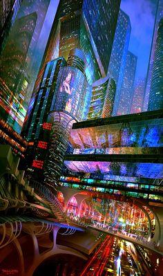 City landscape art sci fi 31 Ideas for 2019 Cyberpunk City, Cyberpunk Kunst, Cyberpunk Aesthetic, Futuristic City, City Aesthetic, Futuristic Architecture, Cyberpunk Movies, Futuristic Technology, London Underground