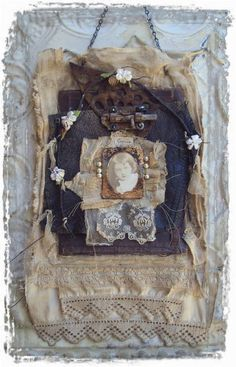 Luscious assemblage journal, via Creating With Fiber