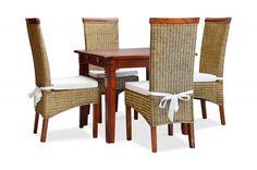 Essgruppe 90x90 Capri - Esstisch & 4 Rattanstühle - Pinie massiv - braun lackiert