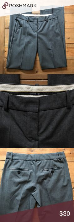 """Theory Dress pants Dark gray Theory dress pants worn only once then dry cleaned and hung in the closet. The perfect staple pants in your wardrobe! Size 0. Inseam- 33"""" overall length-40.5"""" waist when laid flat-14"""" Theory Pants"""