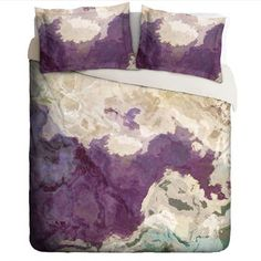 Duvet Cover with abstract art, king or queen in purple, cream and green, Plum Creek
