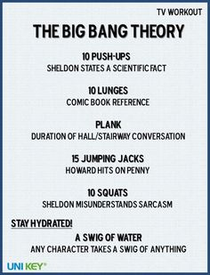 Movie and TV workouts. I should do this ... now i have an excuse for watching too much Big Bang Theory !