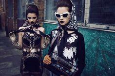 These chicks have a bad ass look. A touch biker chic, a touch rock & roll. Ad Fashion, Retro Fashion, Love Fashion, Editorial Fashion, High Fashion, Vintage Fashion, Biker Chic, Cool Style, Retro Style