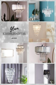 Voluminöses Design mit besonders edlen Lichtreflexen! Mit seinen stilvollen, herabhängenden Acrylglas-Kristallelementen gibt dieser Kronleuchter Ihrer Wohnung einen Hauch Glamour und Luxus. Hohe Decken erlauben ihm seine Wirkung voll zu entfalten und die Blicke Ihrer Gäste mit seinem einzigartigen Charme zu fesseln. Modern, Rest, Chandelier, Glamour, Ceiling Lights, Lighting, Design, Home Decor, Be Creative