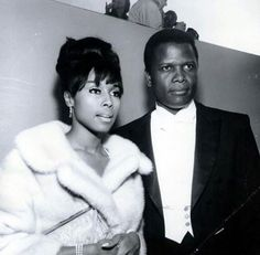 American actors and civil rights icons Diahann Carroll and Sidney Poitier in 1962, following completion of the film Paris Blues.