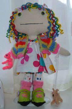 Henrietta the Hippy.  Multicolour Hippy doll.