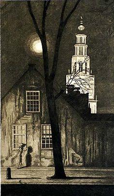 Arend Hendriks (1901-1951) - Illuminated Church Tower, Groningen, 1930-40