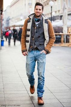 Men's Tobacco Duffle Coat, Navy Shawl Cardigan, Chocolate Leather Belt, Light Blue Jeans, Walnut Leather Derby Shoes, and White Crew-neck T-shirt