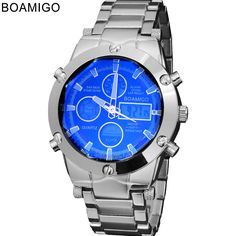 watches men luxury brand BOAMIGO sports military watches Dual Time Quartz Analog Digital Clock  LED steel strap wristwatches | Price: US $14.93 | http://www.bestali.com/goto/32229895938/10