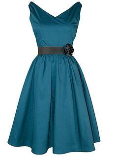 Peacock Blue Flair Dress | PLASTICLAND