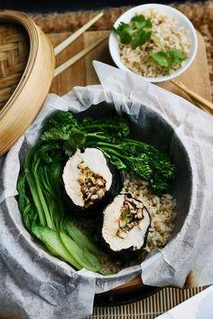 Steamed Nori Chicken with Tamari + Ginger Mushrooms www.fingerforkknife.com