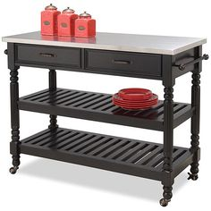 Home Styles The Gray Barn Cranberry Field Black Kitchen Cart (Savannah Black Kitchen Cart) Black Kitchens, Home Kitchens, Small Kitchens, Stainless Steel Kitchen Cart, Kitchen Storage Cart, Kitchen Carts, Kitchen Ideas, Kitchen Dining, Kitchen Stuff
