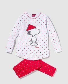 Pijama de niña Cotton Juice con bordado de Snoopy con dos piezas