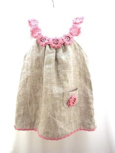 Cream rose /crocheted /sew organic linen baby/ toddler/girl flower dress/tunic with lacy edge Linen organic flower dress / tunic crochet / sew for the baby / toddlers / girl of any size Crochet Girls, Crochet For Kids, Sewing For Kids, Baby Sewing, Hand Crochet, Crochet Trim, Fashion Kids, Little Girl Fashion, Little Girl Dresses