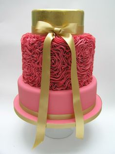 Gilded ruffled rose wedding cake - Scrum Diddly cakes