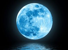 Photo about Full blue moon over water with reflections. Image of horizon, artistic, fantasy - 22297973 Moon Photos, Moon Pictures, Image Bleu, Full Blue Moon, Big Moon, Moon Moon, Moon Over Water, Photo Bleu, Shoot The Moon