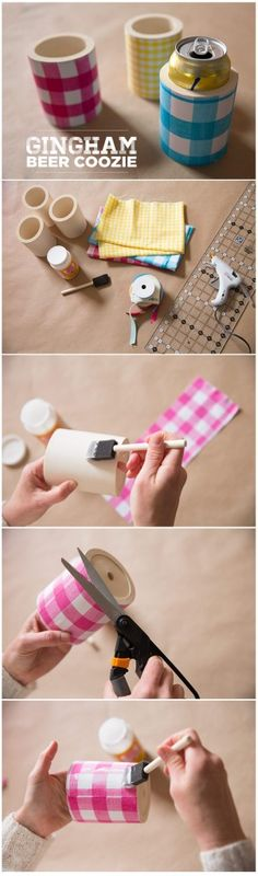 DIY Gingham Beer Coozies from Creativebug...you could use any fabric you want...I'm doin this!!