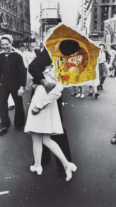 Such a beautiful collage , I found it online, I don't know who made it but such immense beauty, the kiss by Gustav Klimt and the most famous photograph V-J day in times Square.The Kiss. Art Pop, Inspiration Art, Art Inspo, Photomontage, Dadaism Art, Art Du Collage, Art Collages, Love Collage, Collage Photo