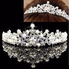 Bridal Flower Rhinestone Crystal Pearl Crown Tiara Prom Wedding Pageant Veil Headpiece