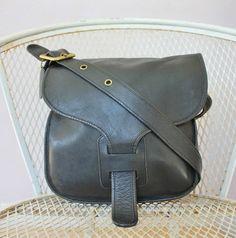 Rare Vintage Coach 1960's Black Leather Bonnie by TheCreekBoutique
