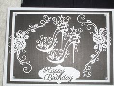 Birthday card using Tattered Lace dies 50th Birthday Cards, Birthday Cards For Women, Happy Birthday, Tattered Lace Cards, Memory Box Dies, Spellbinders Cards, Scrapbook Cards, Scrapbooking, Embossed Cards