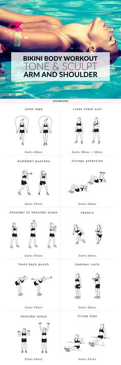 Get your upper body ready for bikini weather with this arm and shoulder workout. Tone and sculpt your triceps, biceps, shoulders and forearms at home, for a sexy beach look. http://www.spotebi.com/workout-routines/arm-and-shoulder-workout-bikini-body/