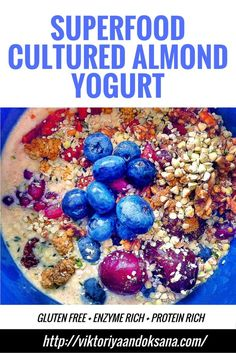 Superfood cultured almond yogurt contains predigested nutrients that become much easier to assimilate, metabolize, and convert into energy. Cultured almond yogurt is a great way to increase probiotics, enzymes, electrolytes, raw vegan protein, carbohydrates.  It is also anti-aging, immune boosting, detoxifying, rich in antioxidants, and aids in weight loss. Free ebook included! Click to see the recipe or pin and save for later! via @viktoriyaandoks