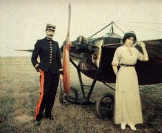 A french army pilot with his wife next to a Nieuport Monoplane in Palavas Aerodrome, France, Autochrome photo by Camille Duprat 1912