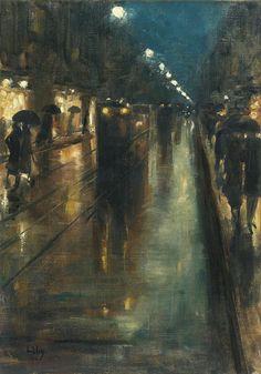Night street scene in Berlin, Leipziger Strasse, Lesser Ury. German Impressionist Painter (1861 - 1931)