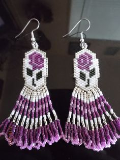 """Native American Rose Radiant Fuchsia and Pink Beaded Earrings """"Ready to Ship"""""""