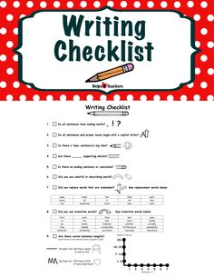 FREEBIE!!  This is a checklist to help your students proof read their written work. It has picture prompts to help them remember the steps they need to take as they proof read. A general guideline would be the following: Steps 1-4 are for Kindergarten, 1-8 for 1st grade and 1-9 for 2nd grade.  Found at: http://www.teacherspayteachers.com/Store/Helps4teachers