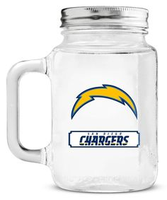 San Diego Chargers Mason Jar Glass With Lid