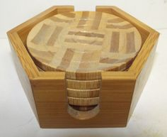 Vintage Small #Wood #Coasters Set of 5 with Holder #Geometric Designs