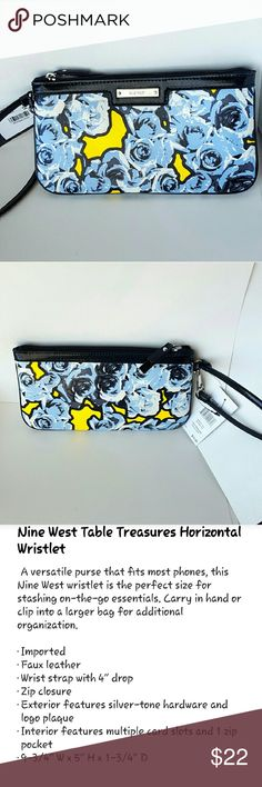 NWT Nine West Table Treasures Wristlet Blue Floral Brand new with tags still on from Nine West. Faux leather wristlet in baby blue/powder blue with glossy black trim and wrist strap. Silver tone metals and name plate on front. Zip top, inside has zipper pocket and card slots.   Please let me know if you have any questions! Nine West Bags Clutches & Wristlets