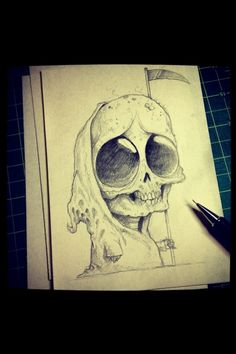 death will Always come Cute Monsters Drawings, Cute Drawings, Monster Drawing, Wow Art, Little Monsters, Skull Art, Scribble, Dark Art, Cute Art